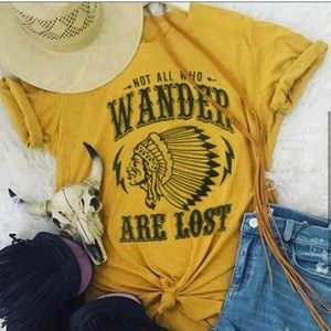 New!Not All Who Wander are Lost graphic tee yellow